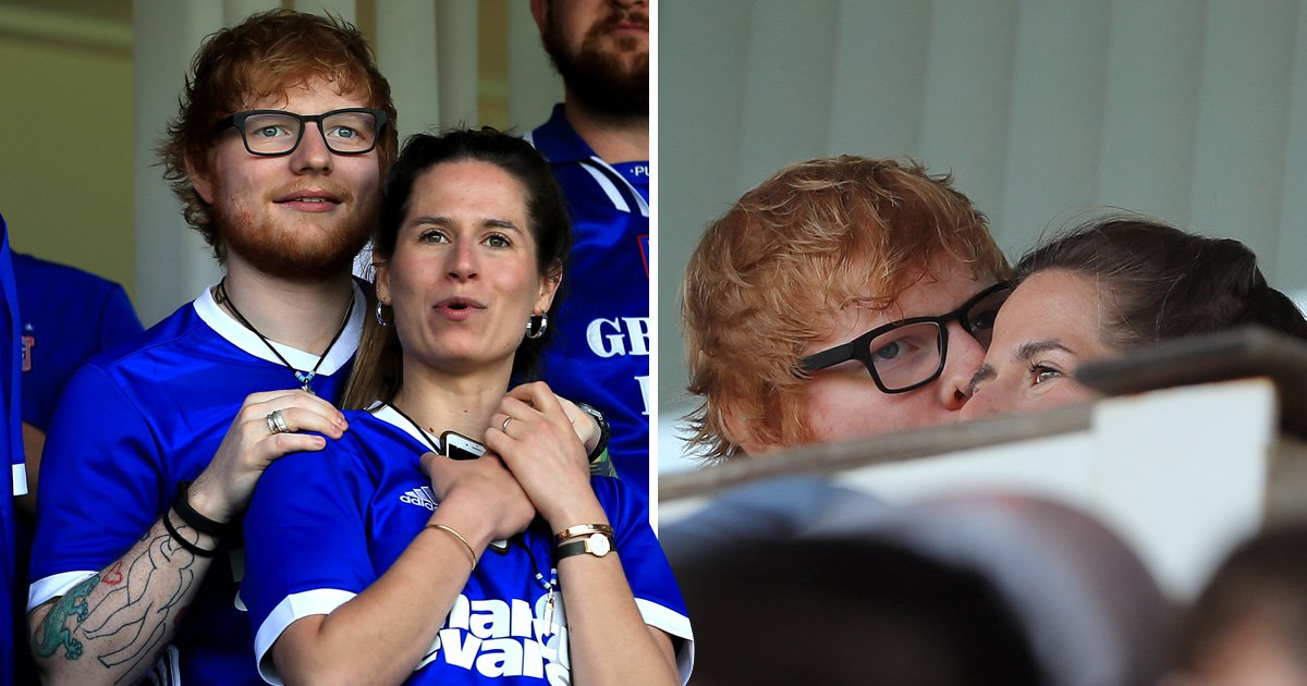 Ed Sheeran scores a kiss from fiancee Cherry Seaborn as the pair cheer on Ipswich Town